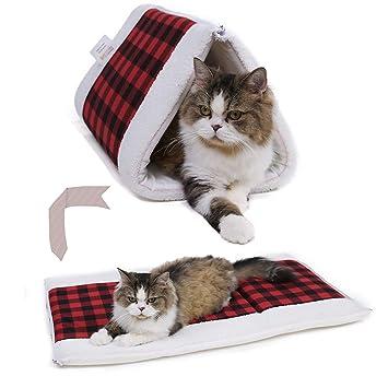 Ohana 2 en 1 túnel de túnel de tartán para Gatos y Manta Plegable con Cremallera
