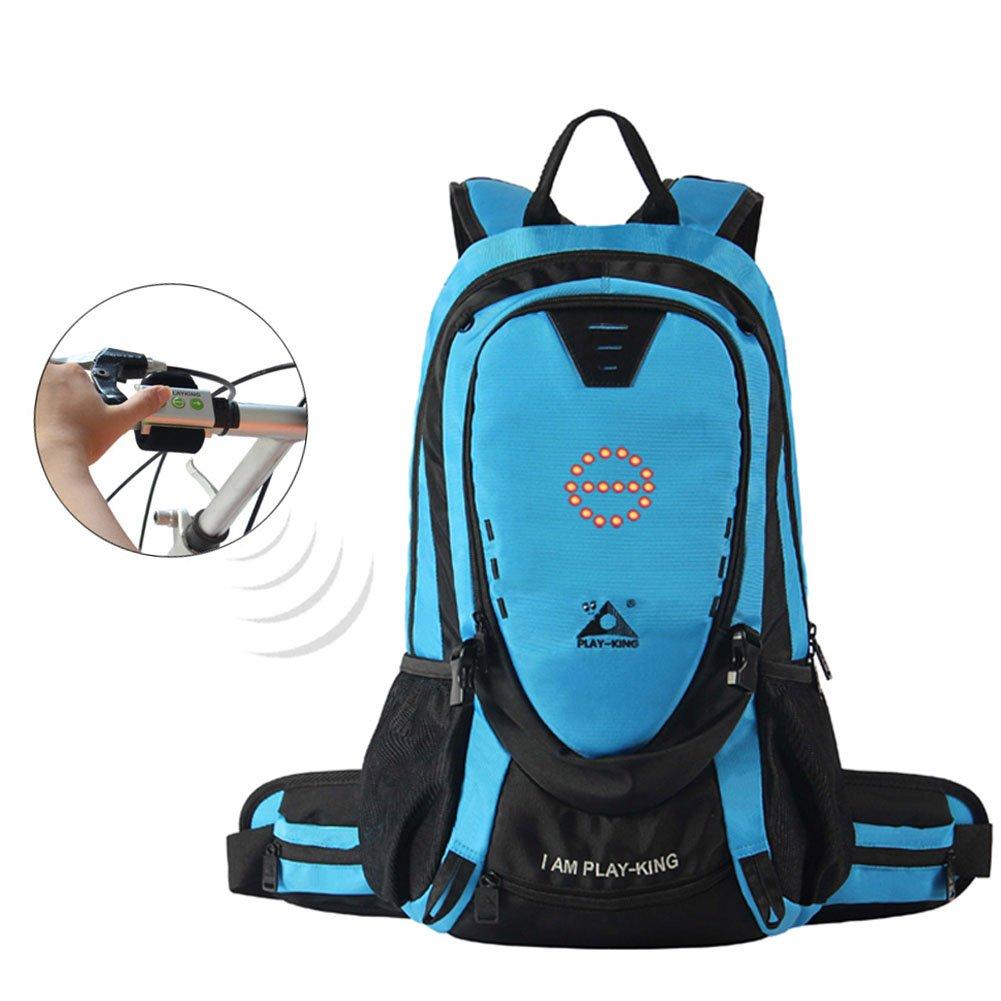 ak-bag自転車バックパックキャンピングバッグwith LEDライトオン/サイクリングバッグwithリモートコントロール多機能ユニセックスリュックサック B07DHQT7ZM  ブルー