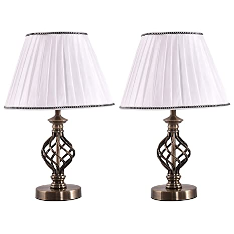 Safstar 2pcs Bedside Table Lamp With Fabric Shade And Antique Brass