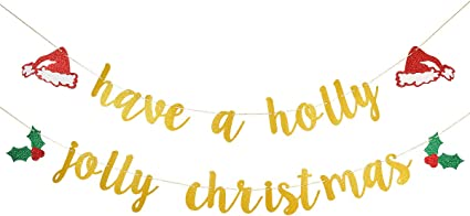 Amazon Com Gold Glittery Have A Holly Jolly Christmas Banner Christmas Holiday Party Decorations Xmas Theme Party Decor Home Decor Toys Games