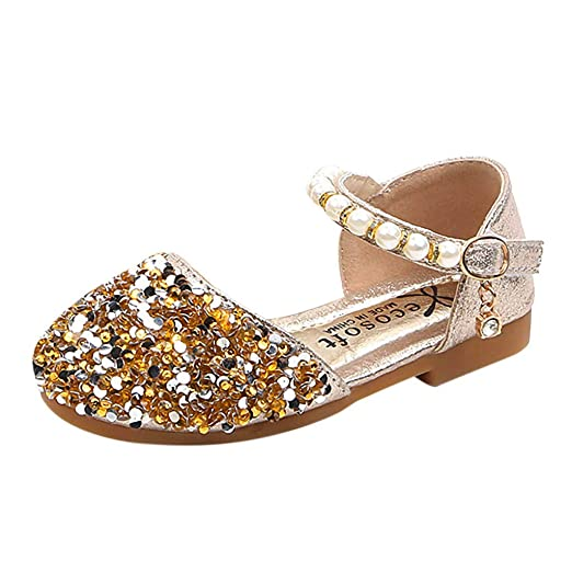 9696338a22e8 AliveGOT Toddler Girls Pearls Ankle Strap Bling Ballet Flats Princess Dress  Shoes (Gold