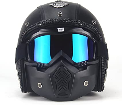 3//4 Open Face Matt Black Motorcycle Helmet Mask Clear Goggle Shield Off Road M