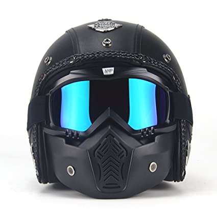 72ea12f5e89 Amazon.com  AUTOPDR Open Face Vintage Motorcycle Helmet PU Leather Harley  Helmets 3 4 Motorcycle Chopper Bike Helmet with Goggle Mask L(59-60cm)   Automotive