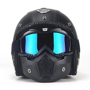 Casco Harley Super PDR de piel sintética, casco de 3/4 con cara descubierta