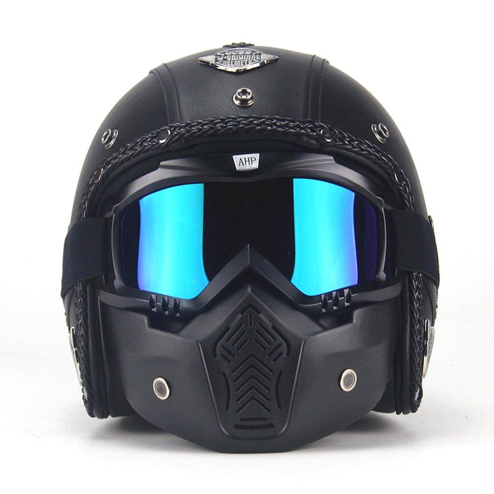 AUTOPDR Open Face Vintage Motorcycle Helmet PU Leather Harley Helmets 3/4 Motorcycle Chopper Bike Helmet with Goggle Mask XL(61-62cm)