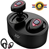 XIAOWU Bluetooth Headphones Wireless Earbuds Mini Bluetooth Headset with Microphone and Charging Case Noise Cancelling Earphones for iPhone 8 7/6/7Plus/6Plus and Android Samsung (AU-X1T-W)