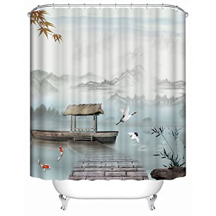 Panoramic Print Fabric Shower Curtain With Boats Birds And Koi Spa Decor Kin By