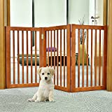 WELLAND Wood Free Standing Folding Pet Gate, 54-Inch, Light Cherry Finish