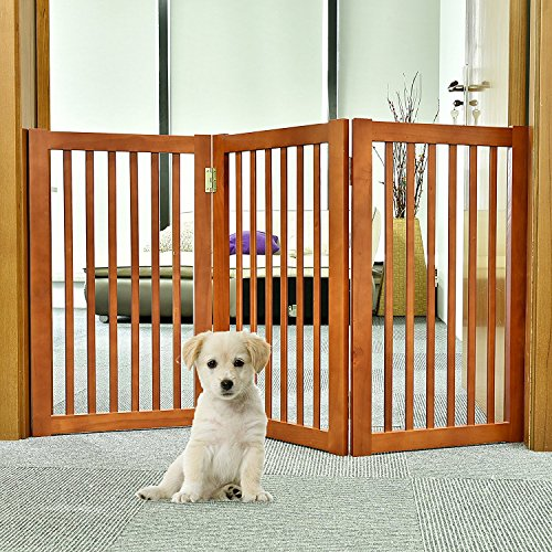 54' Wall (WELLAND Wood Free Standing Folding Pet Gate, 54-Inch, Light Cherry Finish)