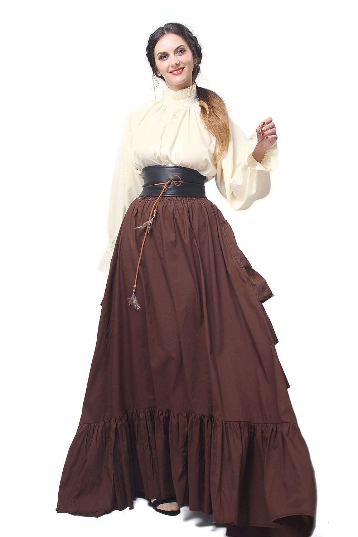 Damen Renaissance mittelalterliche Kostüm Langarm Party Kleid Tops, Rock,Gürtel (braun, XXL) B01N7DGA4V Kostüme für Erwachsene Für Ihre Wahl  | Haben Wir Lob Von Kunden Gewonnen