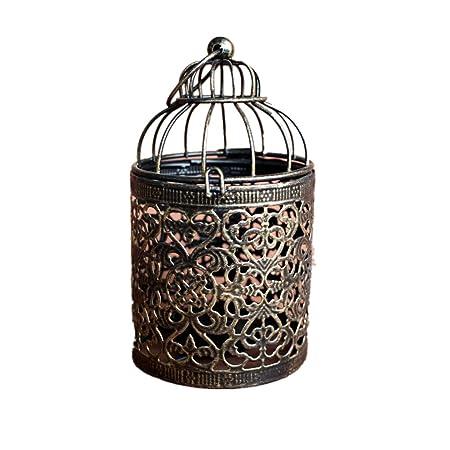 Dylandy Candelabro portavelas de metal en forma de jaula de ...
