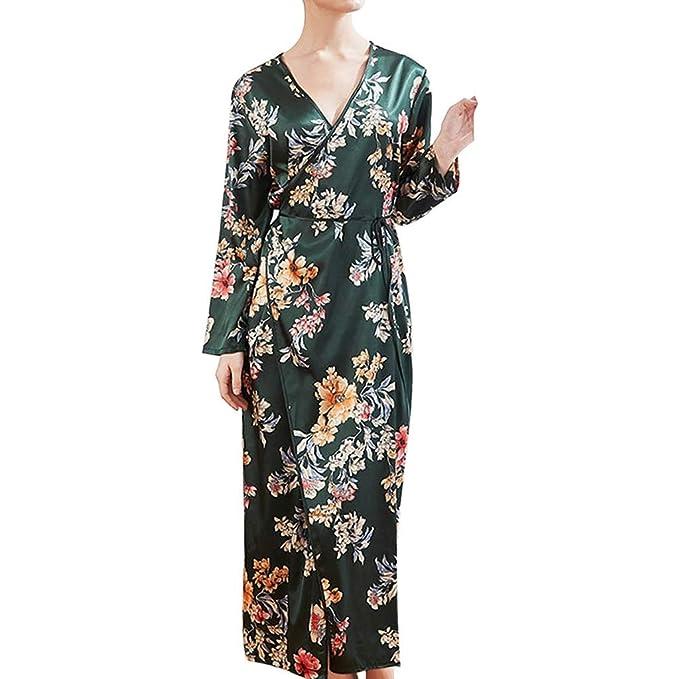 KIMODO Mujeres Simulación Seda Damas Pijamas Lencería Bata Albornoz Novia Bata Traje de Noche Encaje Satén Atractivo: Amazon.es: Ropa y accesorios