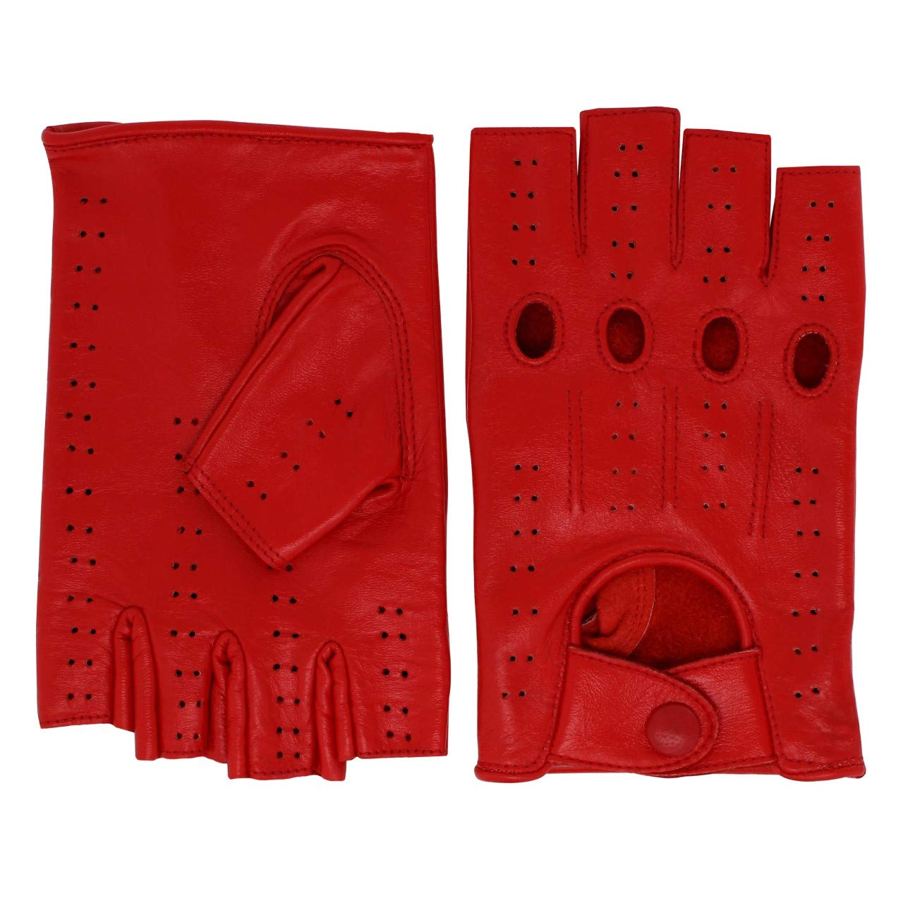 DRIVING GLOVES MEN GENUINE LEATHER HALF FINGER FINGERLESS TEXTING TOUCH SCREEN RED, SMALL