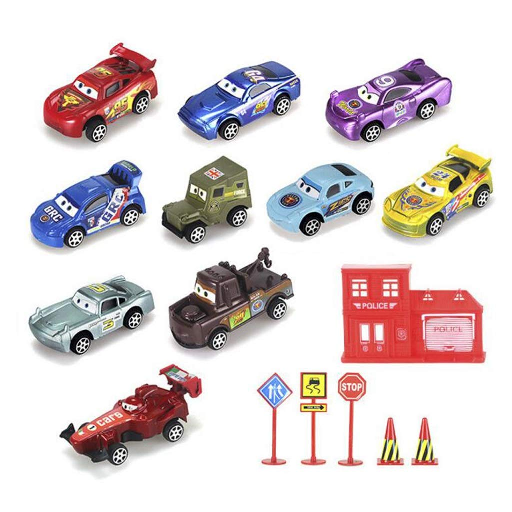 Race Car Toys Assorted for Kids, Boys Or Girls - Free Wheeling Die Cast Metal Plastic Toy Cars Set of 10 Vehicles,1 House,3 Road Signs,2 Flags,Party Favors Or Cake Toppers