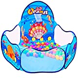 Kids Ball Pit Playpen,Cartoon Ocean Theme Design by Yitee,Ball Tent Ball Pit Pool with Basketball Hoop and Zippered Storage Bag,Portable and Foldable Ball Pit for Toddlers Indoor and Outdoor Play