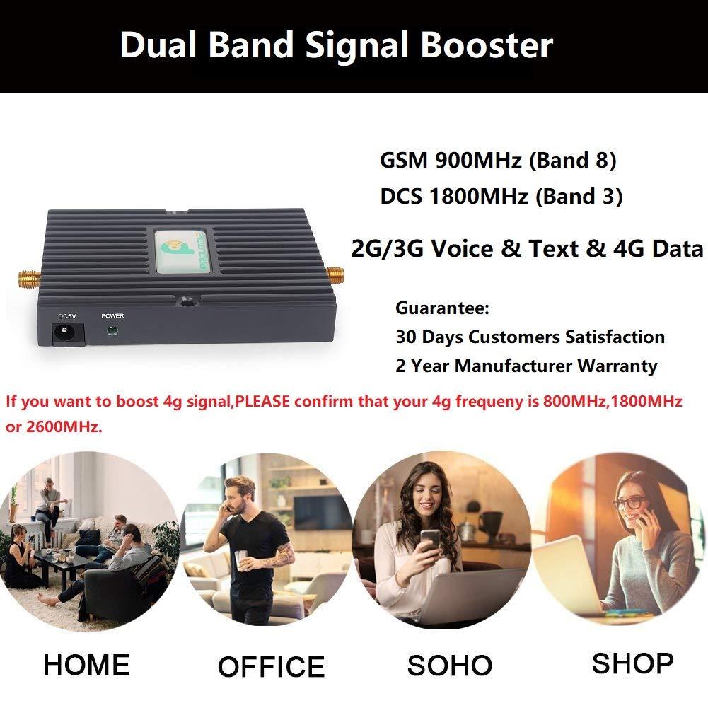 Proutone Dual Banda Amplificador de Señal Repetidor Booster EGSM gsm 900/ DCS 1800MHz 2G 4G 65dB Gain con Omni Antena Kit para Obtenga Llamadas Señal ...