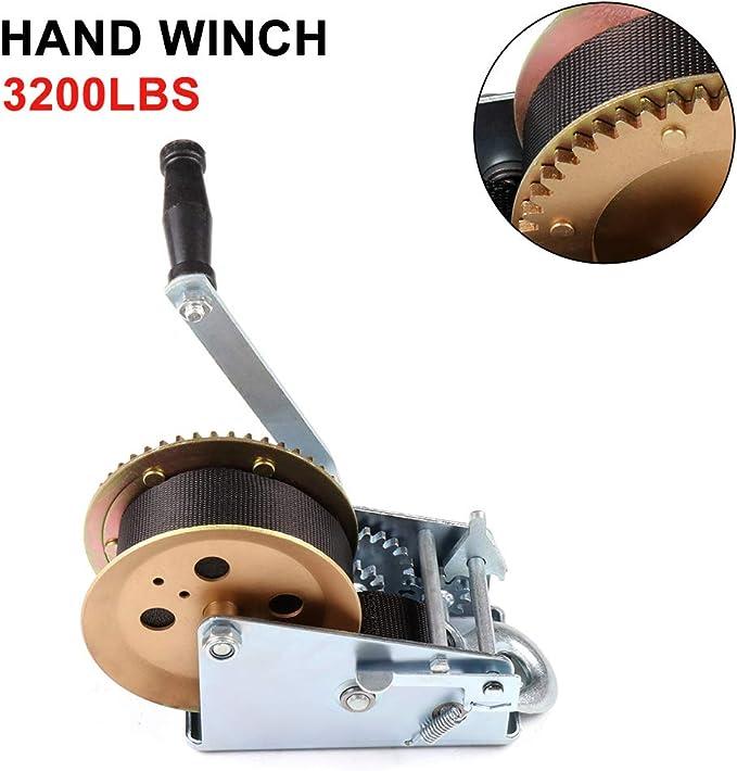 POWHILL 3200lbs Heavy Duty Hand Winch Towing Winch Hand Winch Cable Boat Trailer Marine Trailer Winch Gear Hand Winch Nylon Strap for ATV Boat Trailer Auto 1200