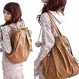C&L Fashion Korean Style Girl's PU Leather Backpack Handbag Shoulders Bag (Light Brown)