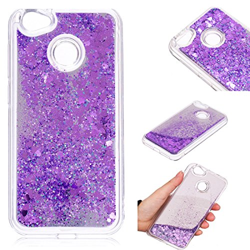 ZTE Blade A6 Case, Lwaisy Flowing Liquid Floating Bling Glitter Love Heart Anti-Scratch Hard PC Back & Soft TPU Bumper Shockproof Protective Cover for ZTE Blade A6 - Purple