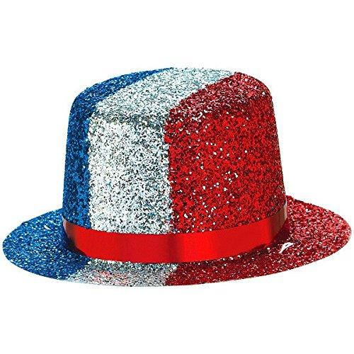 [Amscan Mini Patriotic Glitter Hat Costume Party Headwear, Multi Color, 4.7 x 4.3