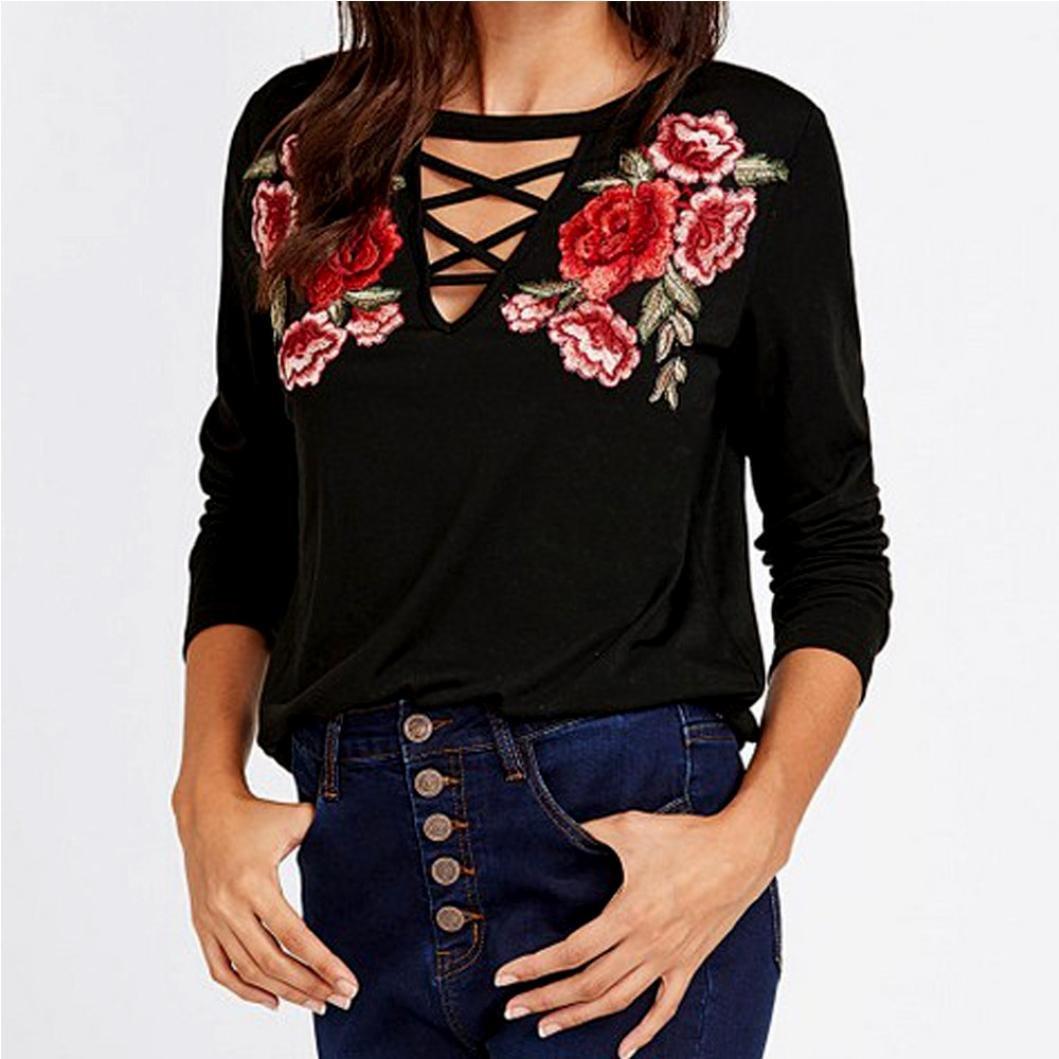 ASHOP Camisas de mujer Blusa con apliques de corbata de manga larga para mujer Rose Flores Moda: Amazon.es: Ropa y accesorios
