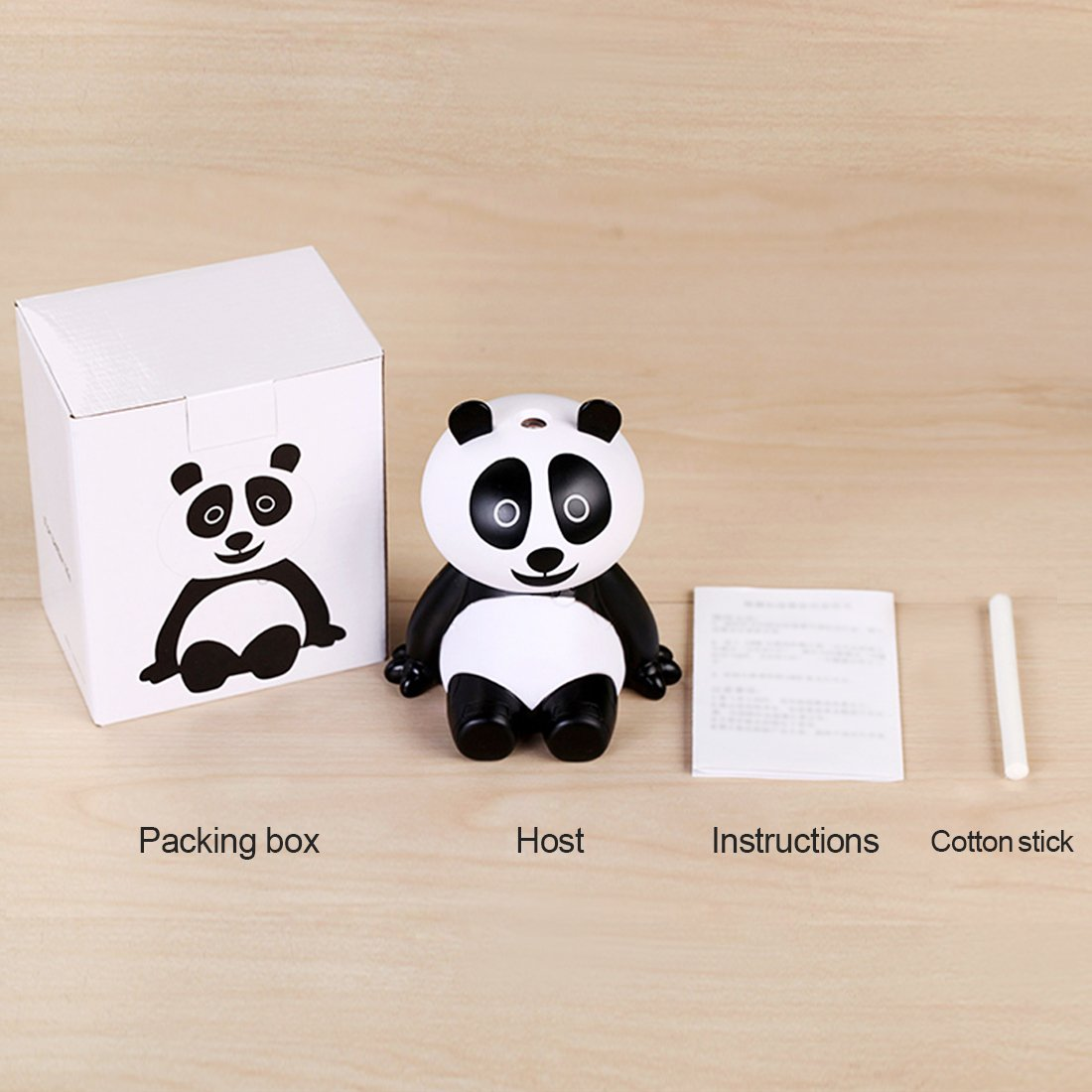Roowo Panda car diffuser , Aroma mini Essential Cool Oil Diffuser with Waterless Auto Shut-off, for Office ,Bedroom ,Living Room, Yoga Spa,Gift.
