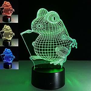 Animal 3D Frog Night Light 7 Color Change LED Table Light Lamp Children Christmas Gift