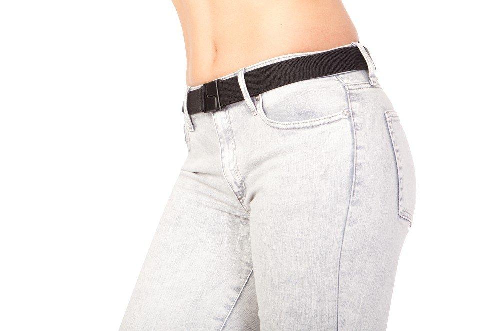 Invisibelt – No Show Women's Stretch Belt, Stretch Slimming Belt, Adjustable Flat Belt, No Buckle Belt, Function over Fashion, One Size … (Black)