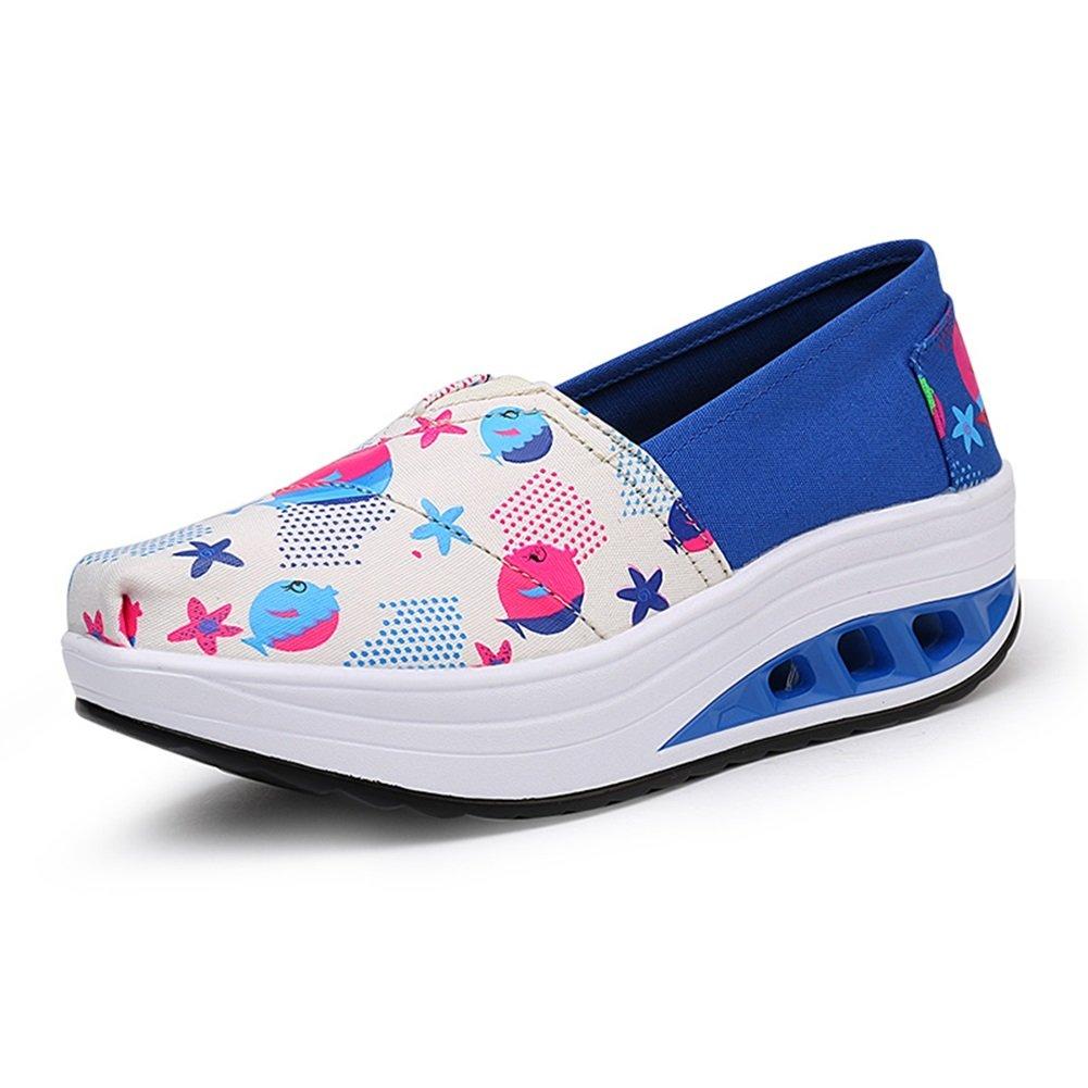 Damenschuhe Plattform Frühling Sommer Herbst Comfort Light Sohlen Turnschuhe Damen Canvas Schuhe Slip On Shake Schuhe Low Heel Runde Kappe für Casual Outdoor (Farbe : D, Größe : 36)