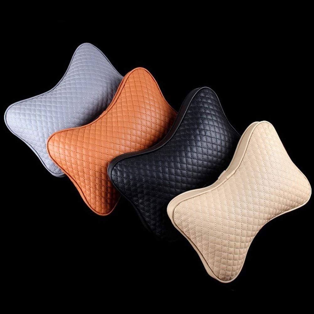 Shentesel 1 Pair Stylish Car Seat Headrest Pillow Neck Support Faux Leather Cotton Cushion Beige