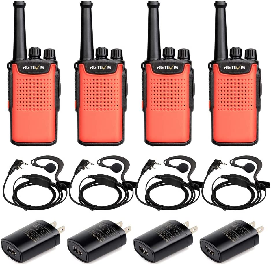Retevis RT67 Walkie Talkies for Adults 3000mAh 16 Channel Small Two Way Radio with LED Flashlight Earpiece(4 Pack)