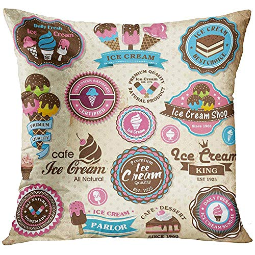 - Throw Pillow Cover Sticker Collection of Vintage Retro Ice Cream Labels Badges and Icons Cookie Cone Decorative Pillow Case Home Decor Square 18x18 Inches Pillowcase