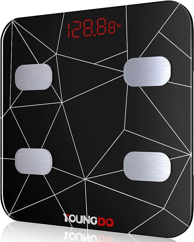 YOUNGDO Báscula Grasa Corporal 30 * 30cm, Báscula Baño Digital Bluetooth Inteligente Con USB Carga 19 Medidas Corporales Esenciales Grasa Corporal, ...