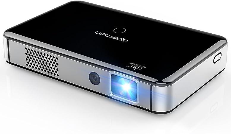 Unterst/ützung 1080P Full HD 50000 Stunden Projektor Heimkino Travel Beamer Mit Helligkeit Lautst/ärke Einstellung Touch-Taste Eingebaute Batterie Stereo-Lautsprecher APEMAN DLP Beamer Mini Beamer