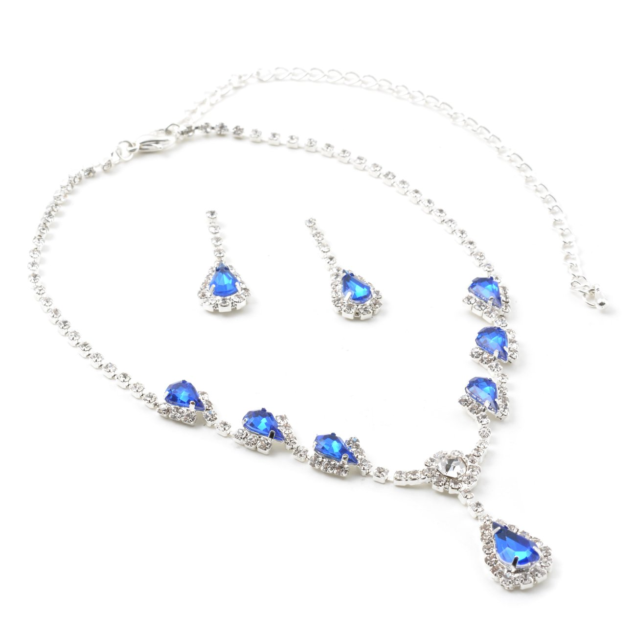 0ef5e3fcd5d763 Amazon.com: Topwholesalejewel Silver Sapphire Rhinestone Teardrop Center  Dangle with 6 Sapphire Rhinestone Accent Necklace & Matching Teardrop Pear  Shape ...