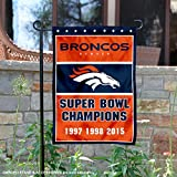 Denver Broncos 3 Time Super Bowl Champions Double Sided Garden Flag