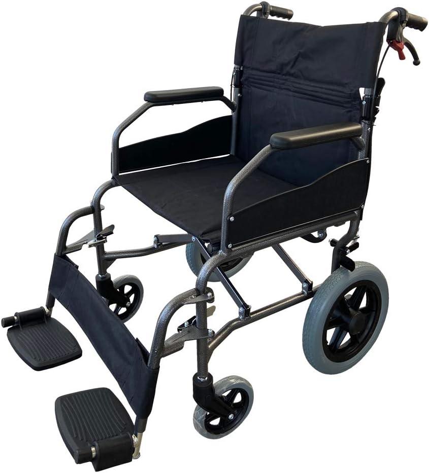 Mobiclinic, Modelo Museo, Silla de ruedas plegable de tránsito, para ancianos y minuválidos, ortopédica, de aluminio, freno en manetas, reposapiés, reposabrazos, color Negro, asiento, ultraligera