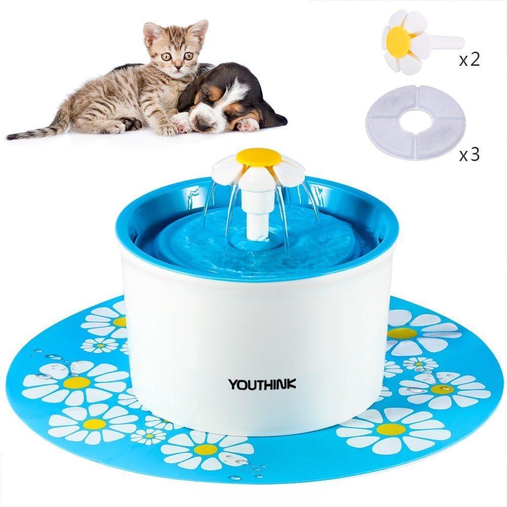 YOUTHINK Fuente de Agua para Gato/Perros, Dispensador Mascotas, Bebedero Automático Silencio 1.6 L Circulante SIN BPA con 3 Filtros, 2 Flores y 1 Tapete de Silicona (1.6l Fuente)