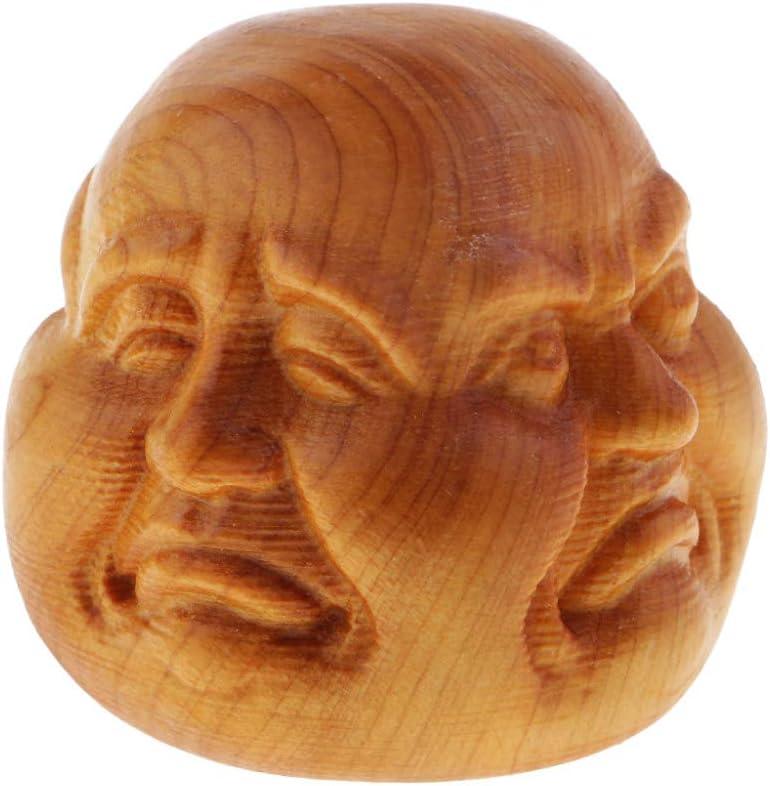 BENGKUI Escultura,Efecto Madera Buda Tailand/és De Cuatro Caras Buddmst Decoraci/ón del Hogar Ornamento 4Cm