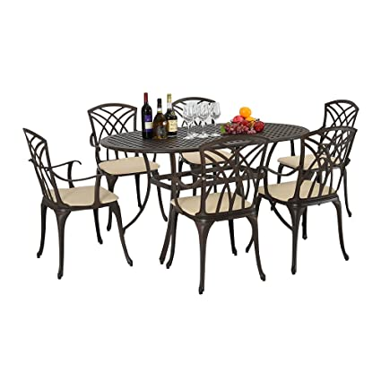 Magnificent 7 Piece Outdoor Garden Patio Furniture Dining Set Round Table And 6 Chairs With Cushions Cast Aluminium Bronze Bralicious Painted Fabric Chair Ideas Braliciousco