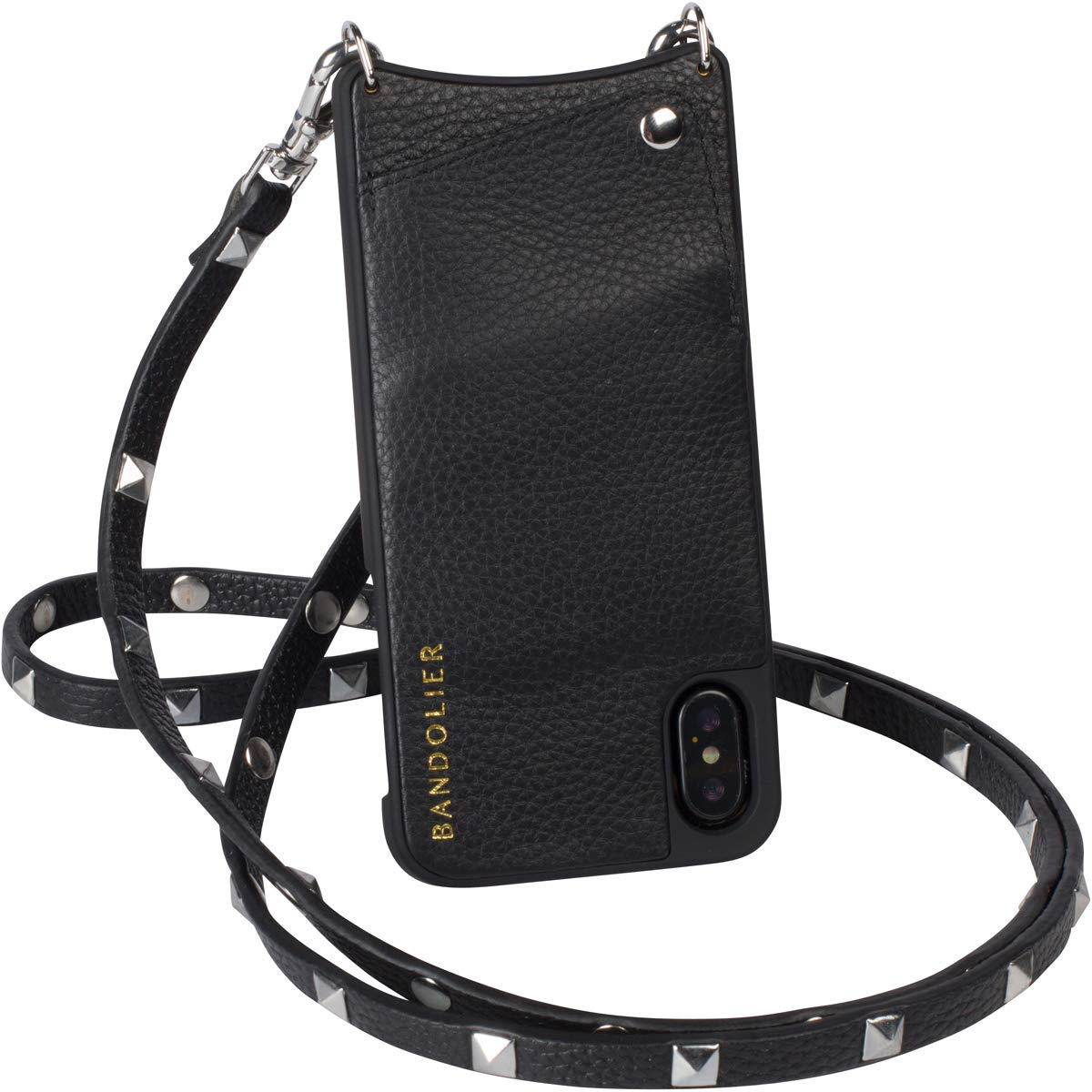 Bandolier [Sarah] Crossbody Phone Case and Wallet - Compatible with iPhone X & XS - Black Pebble Leather with Silver Detail by Bandolier