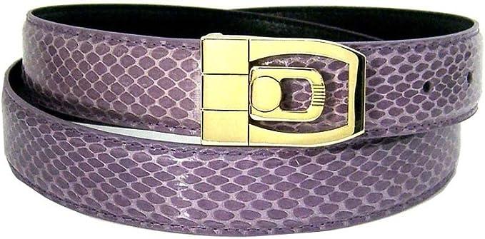 Mens Purple 1.25 Wide Bonded Snakeskin Belt with Stylish Buckle 32 inch waist