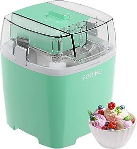 FOOING Ice Cream Makers Countertop, Homemade Ice Cream Machine, 1.5 Quart Gelato Sorbet Maker Frozen Yogurt Machine for Kids Home (Mint)