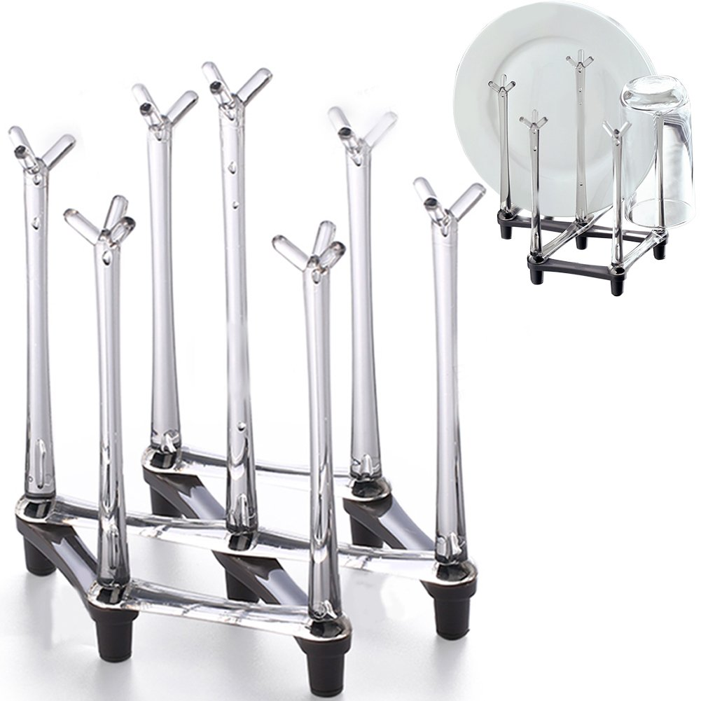 Retractable Countertop Drying Rack Stand, Drinking Cup Drying Drainer Storage Holder,Mug Glass Kitchen Organizer with Non-slip Bottom by Marbrasse