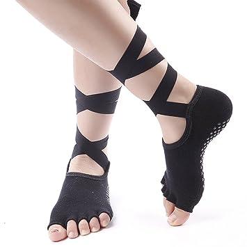 nniuk Yoga calcetines Open Toe calcetines antideslizantes calcetines de tirantes para yoga, ballet, Pilates, Fitness, Danza, gimnasio - 1 par: Amazon.es: ...