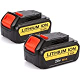 Powilling 2 Pack 20V 5.0Ah Replacement Lithium Ion Battery for Dewalt 20Volts Max XR Lithium DCB200 DCB180 DCB204 DCB205 Cordless Drill Battery