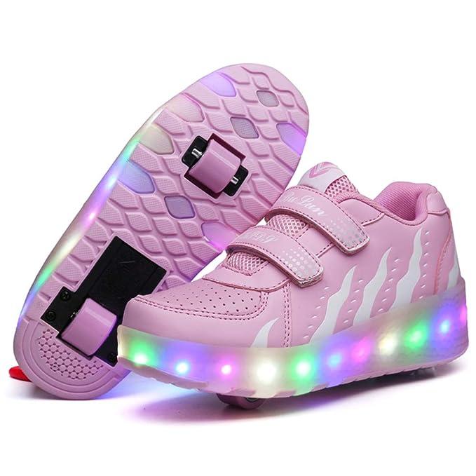 vestibilità classica buona vendita abile design MNVOA Scarpe Roller per Bambini Unisex LED Light up Doppie Ruote Scarpe da  Skateboard da Skateboard Scarpe da Skate Roller da Allenamento per Sport ...