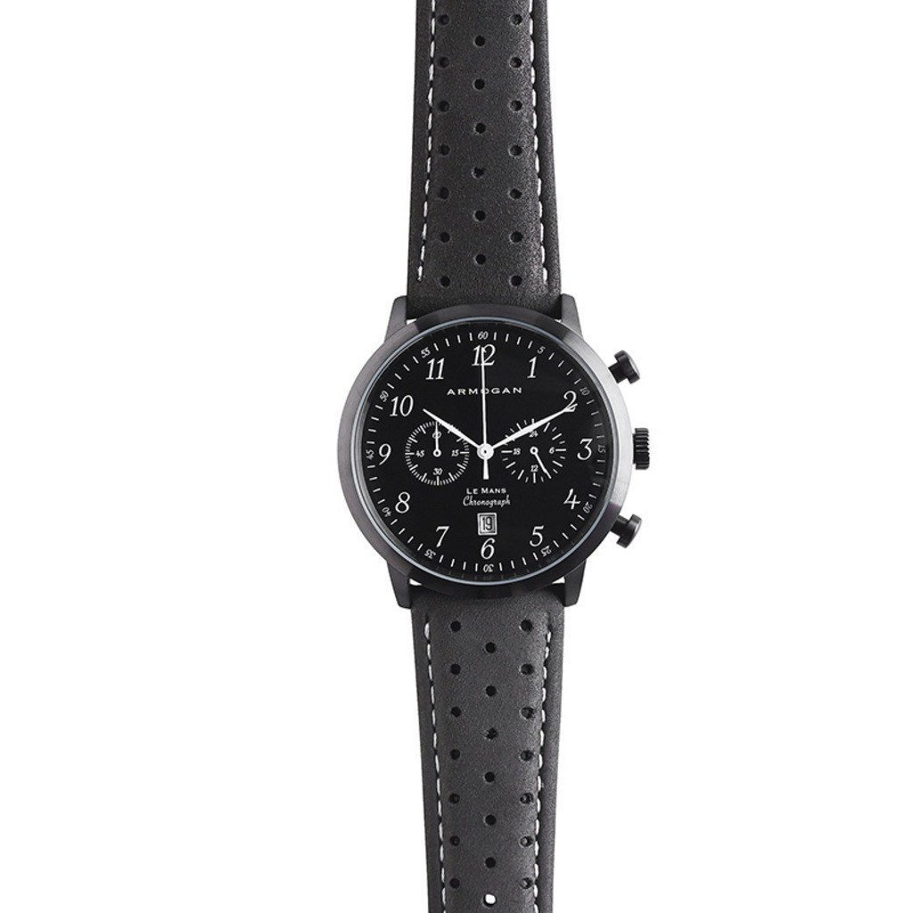 Armogan Le Mans Midnight Black C21 - Reloj Cronógrafo Hombre Correa de Piel perforada - Negro: Amazon.es: Relojes