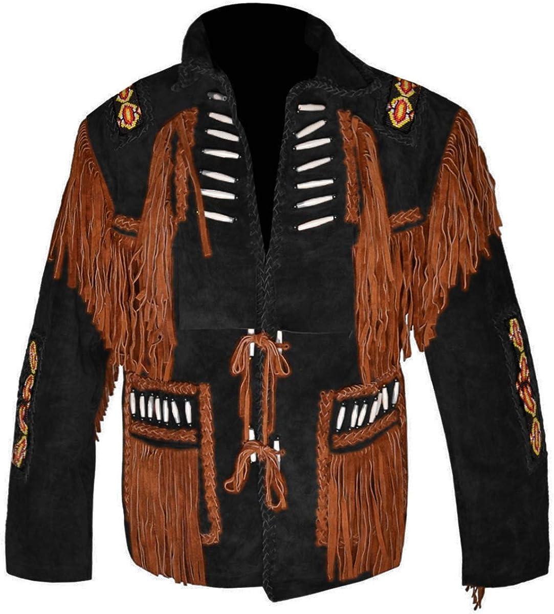 MSHC Western Cowboy Mens Bone /& Fringed Suede Leather Jacket D4 XXS-5XL Brown RED Blue Black