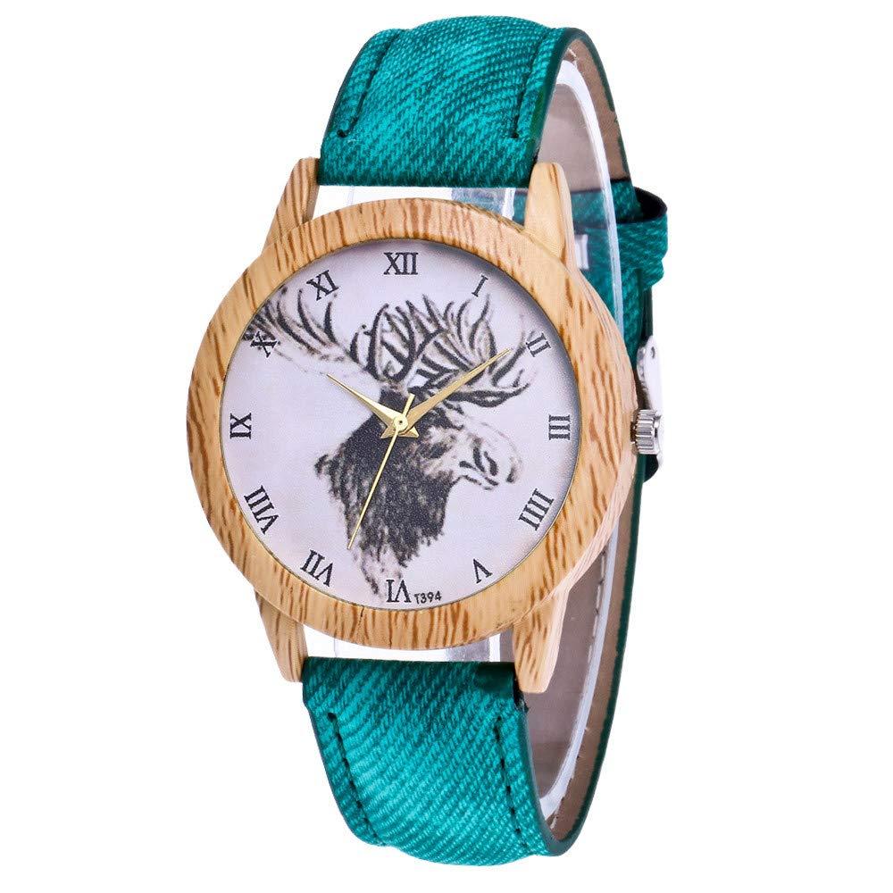 Men Watches, Women's Fashion Casual Leather Strap Analog Quartz Round Watch,Green